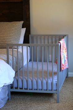 10 wonderful diy co sleeper crib ideas safe sleep lines for babies turn a crib into side car co sleeper bedside crib baby co sleeper [. Diy Crib, Baby Crib Bedding, Baby Bedroom, Diy Bed, Baby Cribs, Kids Bedroom, Ikea Co, Co Sleeper Crib, Crib Rail Cover