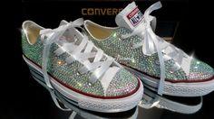 Nozze, sposa, damigella d'onore, dolce 16 cristallo superiore Converse a mano (tra cui scarpe basse)