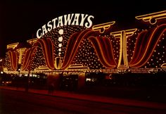 Castaways, Las Vegas, c. 1982 A neon facade was constructed around the small Las Vegas Strip hotel and casino in the early 80s, which lasted until it's closure and demolition in 1987. Photo by Robert Estes