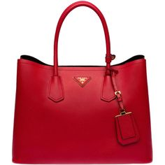 Prada Saffiano Cuir Leather Tote (5.945 RON) ❤ liked on Polyvore featuring bags, handbags, tote bags, leather purse, genuine leather tote, red tote, leather handbags and genuine leather purse