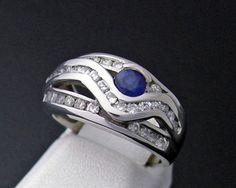 Blue Sapphire / Diamonds 14k White Gold Ring