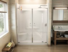 Maax Adesso White 30-in x 60-in 4-Piece Alcove Shower Kit With ...