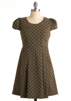 Sipping on Saturday Dress - Green, Black, Polka Dots, Pleats, A-line, Cap Sleeves, Casual, Spring, Summer, Fall, Short