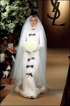 17 of Yves Saint Laurent's most beautiful wedding dresses of all time - Vogue Australia Worst Wedding Dress, Most Beautiful Wedding Dresses, Saint Laurent Paris, St Laurent, Marchesa, Vogue Paris, Elie Saab, Bridal Gowns, Wedding Gowns