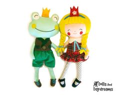 Princess and Frog Sewing Pattern Play Set Fairy Tale DIY Plush