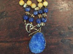 One of a kind long knotted necklace with Yellow by LaSireneDesigns