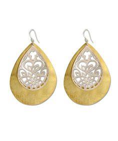 Handmade Contemporary 18K Gold Plated Filgree Silver Earring   Silvercentrre.com