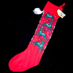 NEW NWT CHRISTMAS RED Green White REINDEER KNIT KNITTED Hanging LONG STOCKING $1 sorry SOLD .... we sell more Christmas and Holiday Home Décor Decorations at http://www.TropicalFeel.com
