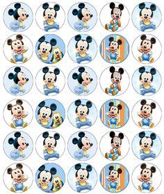 Mickey Mouse Baby Birthday Cupcake Toppers Edible Wafer Paper Buy 2 Get Free Bolo Mickey Baby, Baby Mickey Mouse Cake, Festa Mickey Baby, Minnie Mouse Stickers, Theme Mickey, Fiesta Mickey Mouse, Mickey Mouse 1st Birthday, Baby Mouse, Mickey Party