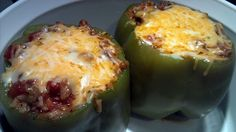 "Stuffed green bell peppers! 4.67 stars, 28 reviews. ""Easy recipe... I ended up using 3/4 cup of chicken stock and it came out delicious...."" @allthecooks #recipe #easy #healthy #peppers #quick #stuffed"