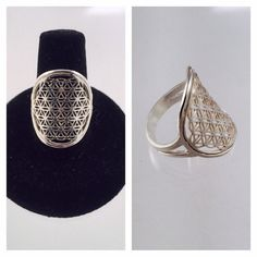 Sacred Geometry, Sterling Silver Flower of Life Ring