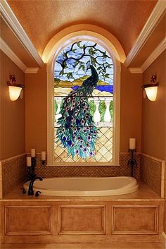 Peacock Stained Glass in the bathroom....