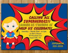 Girl Superhero Party Invitation Supergirl Birthday Superman InvitationsSuperhero