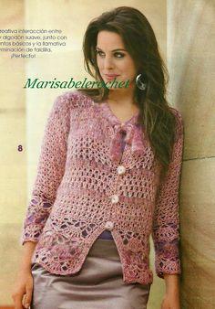 Chorrilho de ideias: Casaco cor rosa crochet com esquema