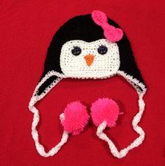 Girls crochet penguin hat with pom poms