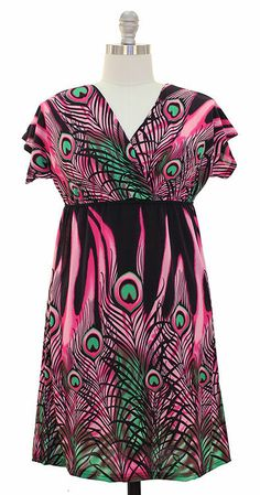 NWT  Plus size. Kimono Sleeves Dress-Black/Pink Size 1X .01 Cent SUMMER SALE BID