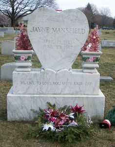 This is Jayne's actual headstone, at the Fairview Cemetery at Pen Argyl, Pennsylvania, where she was interred following her death June 29, 1967 (exactly thirty-five years before the death of my cousin Thomas which changed my life forever)