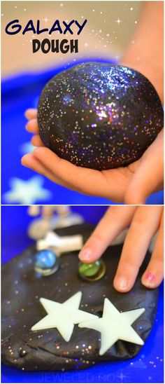Dough Recipe GALAXY DOUGH: a super smooth, ultra sparkly, & really stretchy play material for kids. This no cook recipe takes seconds to make & is so FUN! My kids played for hours! Space Activities, Sensory Activities, Sensory Play, Activities For Kids, Crafts For Kids, Children Crafts, Children Play, Diy Galaxie, Galaxy Projects