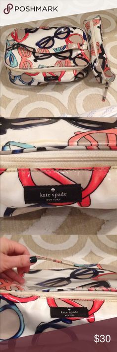 Kate Spade Travel Bags- Set of 2 Kate Spade Travel bags. Comes with 2. Beautiful Sunglasses design. Great for summer! Staining inside bigger bag and some yellow staining on outside. Smaller bag is in better condition. Please refer to pictures for measurements. kate spade Bags Travel Bags
