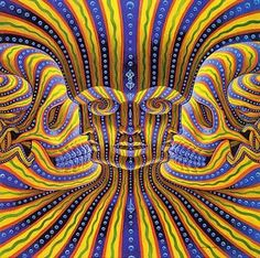 Can you find all 7 faces? Alex Grey, Alex Gray Art, Face Illusions, Amazing Optical Illusions, Art Optical, Image Illusion, Illusion Art, Illusion Pictures, Imagenes Pink Floyd