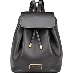 Marc by Marc Jacobs Ligero Backpack (€355) ❤ liked on Polyvore featuring bags, backpacks, black, real leather backpack, military rucksack, shoulder bags, genuine leather backpack and leather bags