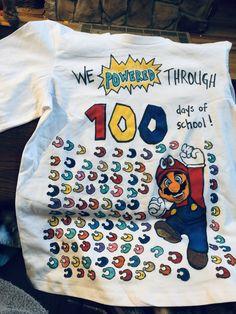 "100 Days of School Shirt- Mario Odyssey ""Power Moons"" 100 Days Of School Project Kindergartens, 100 Day Of School Project, School Projects, School Ideas, School Stuff, Back To School, 100s Day, School Shirts, Shirt Ideas"