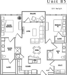 Unit B5 - 2 BR, 2 BA - 1211 Net Sq.Ft.
