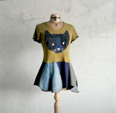 Blue Cat Shirt Boho Upcycled Top Olive by BrokenGhostClothing