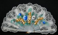 Painted Spanish Hand Fans with Lace, Abanicos Pintados con Puntilla, Fan Stands