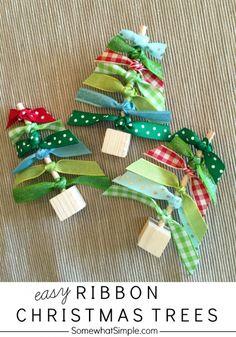 Easy Christmas Craft- Ribbon Christmas Trees