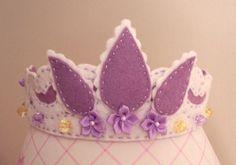 Rapunzel Tiara, Princess Crown in White and Purple Felt. $25.00, via Etsy.