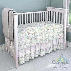 Crib bedding in Nursery Rhyme Toile, Pink Hearts. Created using the Nursery Designer® by Carousel Designs where you mix and match from hundreds of fabrics to create your own unique baby bedding. #carouseldesigns