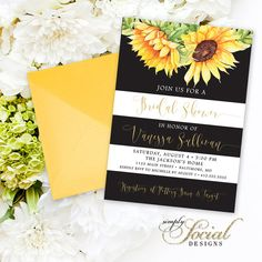 sunflower bridal shower invitation watercolor sunflowers and black and white stripes bridal shower invitation printable