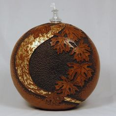 "*Gourd Art - ""Carved Oil Lamp"" by Gloria Crane"