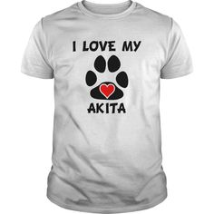 I Love My Akita Dog Paw Print Heart Akita T-shirt