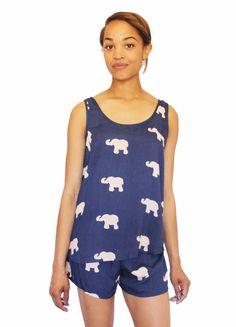 Navy & Cream Marching Elephants Tank