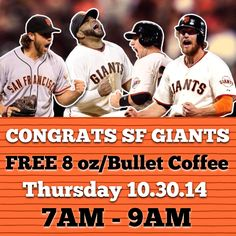 FREE 8 oz/Bullet Coffee today(10.30.14) from 7AM-9AM!!