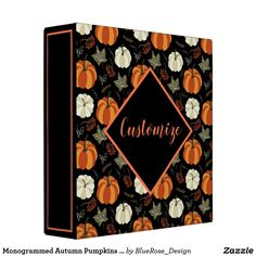 Monogrammed Autumn Pumpkins Pattern 3 Ring Binder Binder Inserts, 3 Ring Binders, Binder Design, Custom Binders, Photo Quality, Fall Pumpkins, Scrapbooks, Unique Weddings, Scrapbook