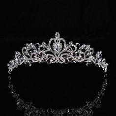 Bridal Princess Austrian Crystal Tiara Wedding Crown Veil Hair Accessory Silver Glamping Tiara
