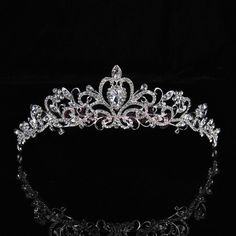 Bridal Princess Austrian Crystal Tiara Wedding Crown Veil Hair Accessory Silver Glamping Tiara
