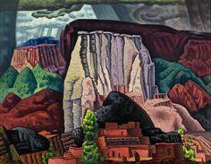 Pueblo Series, Jemez 1928 35x45 inches, oil by Raymond Jonson