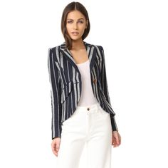 SMYTHE One Button Blazer ($487) ❤ liked on Polyvore featuring outerwear, jackets, blazers, white jacket, single button blazer, stripe blazers, white faux jacket and faux-leather jacket