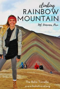 Are you curious about visiting Rainbow Mountain? Read my latest blog post on The Boho Traveller for my personal experience, as well as advice and prep for your visit!! **************************** things to do in Peru | Peru travel tips | rainbow mountain Peru | Peru hiking advice | hiking in Peru | vinicunca mountain Peru | things to do in Cuzco | where to go in Peru | Lima travel tips