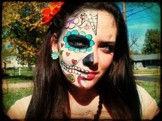 halloween sugar skull candy face paint make up flowers eye liner earrings spider web hearts lip stick dress up fun spirit party