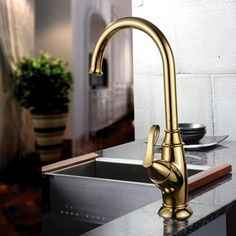 Belle Single Handle Kitchen Faucet Gold - US$109.99 : Homary.com