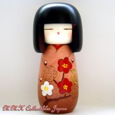 Lovely Japanese Creative Kokeshi Doll by Masae Fujikawa - KOZUE (TREETOP), BROWN - MMH Collectibles Japan
