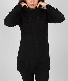 Look what I found on #zulily! Black Mix-Knit Wool-Blend Turtleneck Sweater #zulilyfinds