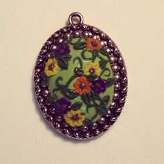Floral cameo made from polymer clay