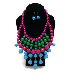 ON SALE! - Necklace & Earring Set - Light Blue, Fuschia & Green - $5.37 - The Beadcage - Jewelry & Gift