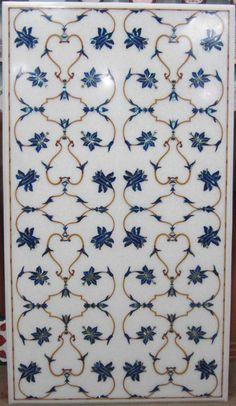 White  Marble Lapislazuli Inlaid Mughal floral by MARBLEINLAY